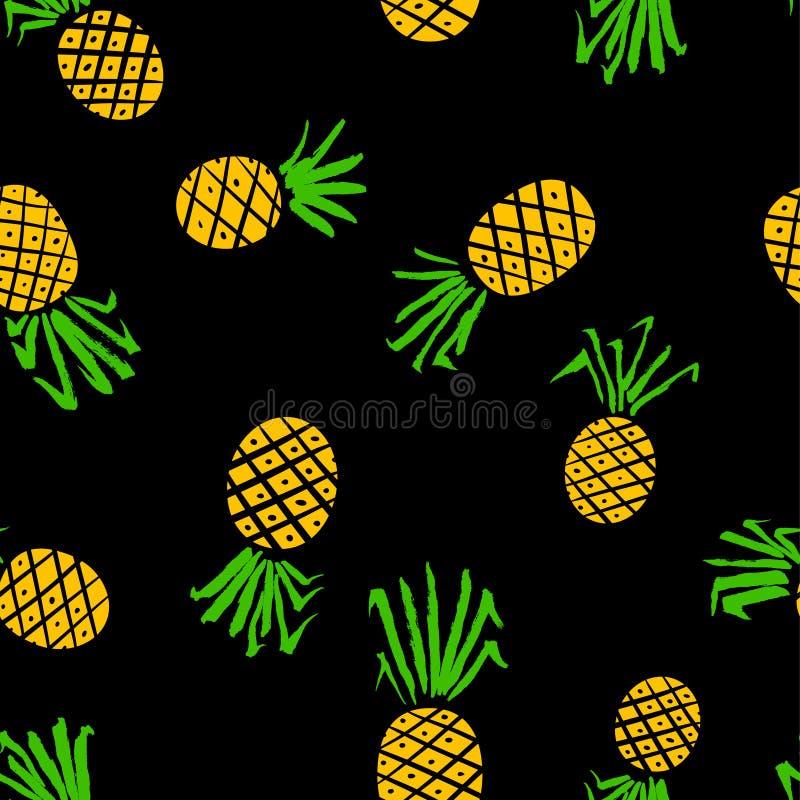 Modèle sans couture d'ananas Fond avec des fruits frais d'été illustration stock