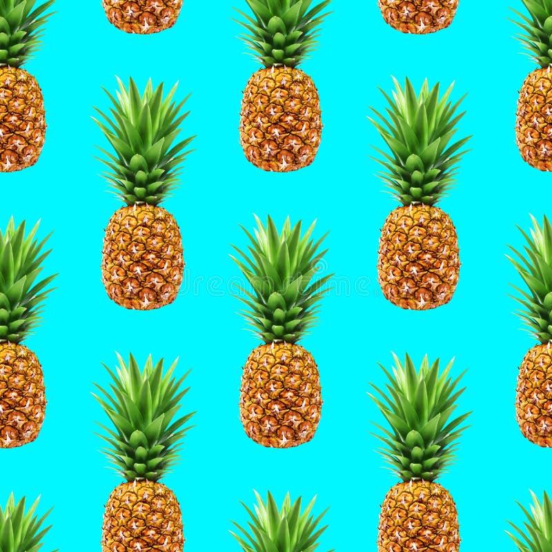 Modèle sans couture d'ananas sur le fond bleu illustration libre de droits