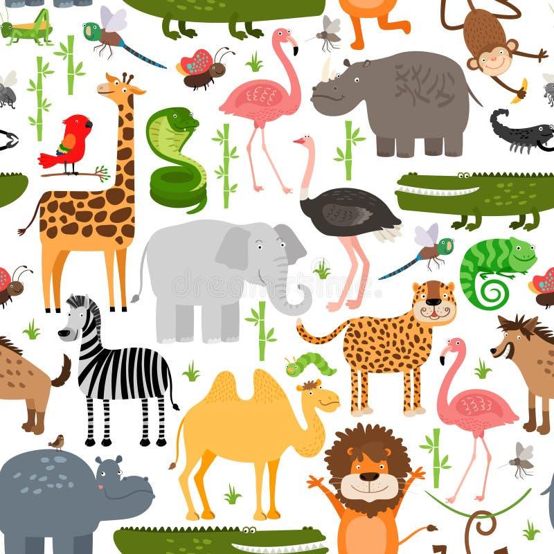 Modèle sans couture d'animaux de jungle illustration stock