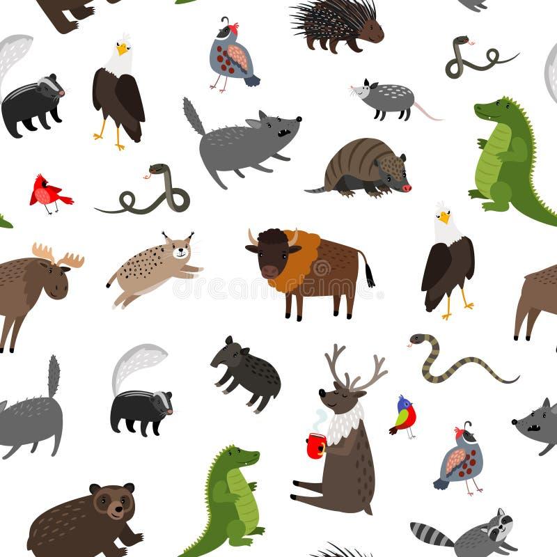 Modèle sans couture d'animaux de l'Amérique du Nord Illustration de vecteur illustration stock