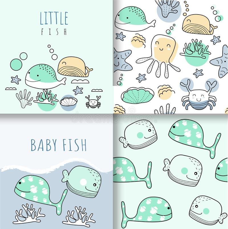 Modèle sans couture d'animaux mignons de bébé, pour des tissus, textiles, l'usage des enfants, papier d'emballage illustration libre de droits