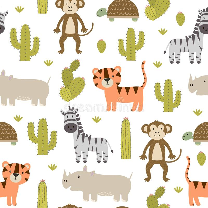 Modèle sans couture d'animaux mignons de safari illustration de vecteur