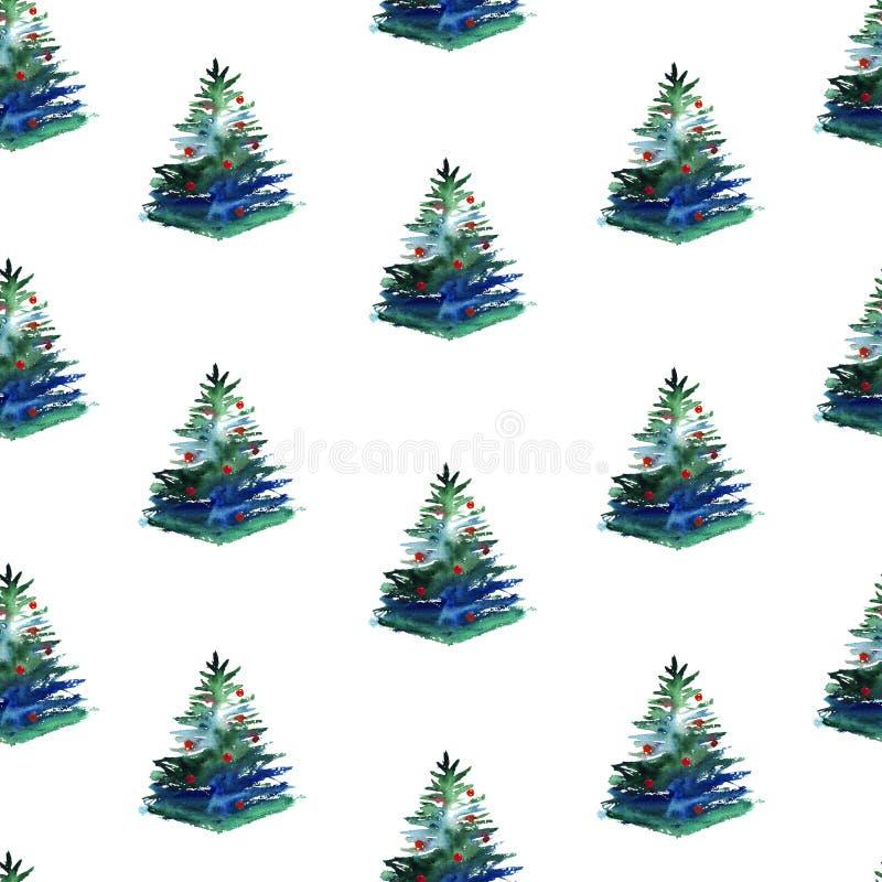 Modèle sans couture d'aquarelle d'arbre de Noël sur le fond blanc illustration libre de droits