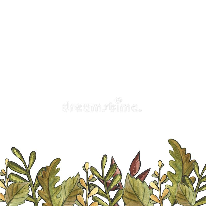 Modèle sans couture d'aquarelle d'automne de feuille florale tirée par la main de champignon sur le fond blanc Chute, chute de fe illustration libre de droits