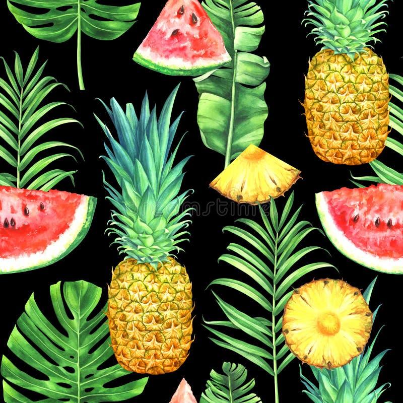 Modèle sans couture d'aquarelle avec des ananas, des pastèques et des feuilles tropicales sur le fond noir illustration libre de droits