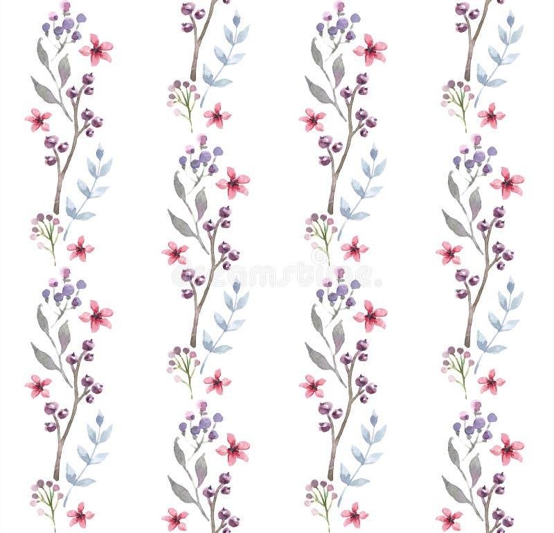 Modèle sans couture d'aquarelle avec des fleurs Conception florale de fond illustration libre de droits