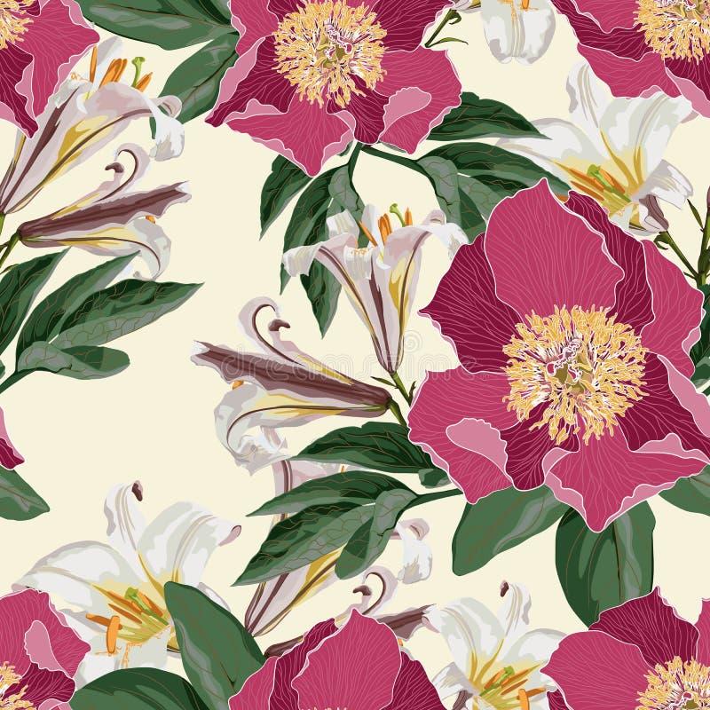 Modèle sans couture d'aquarelle avec des fleurs, des lis et des feuilles de pivoines illustration libre de droits