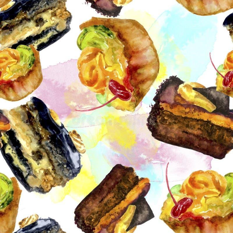 Modèle sans couture d'aquarelle avec des gâteaux et des tartes illustration stock