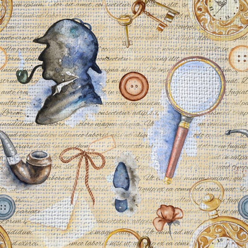 Modèle sans couture d'aquarelle avec des objets de Sherlock Holmes illustration de vecteur