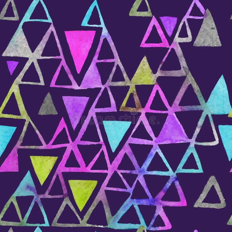 Modèle sans couture d'aquarelle avec des triangles Modèle de triangles des formes géométriques illustration de vecteur