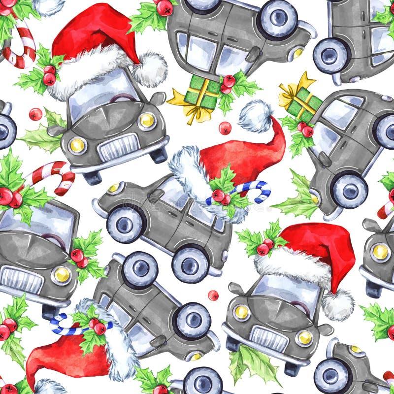 Modèle sans couture d'aquarelle avec des voitures, des arbres et des cadeaux de vacances de bande dessinée An neuf Illustration d illustration libre de droits