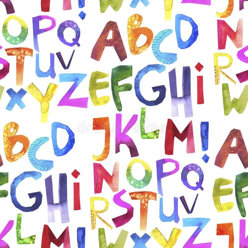 Modèle sans couture d'aquarelle avec l'alphabet coloré sur le blanc photos libres de droits