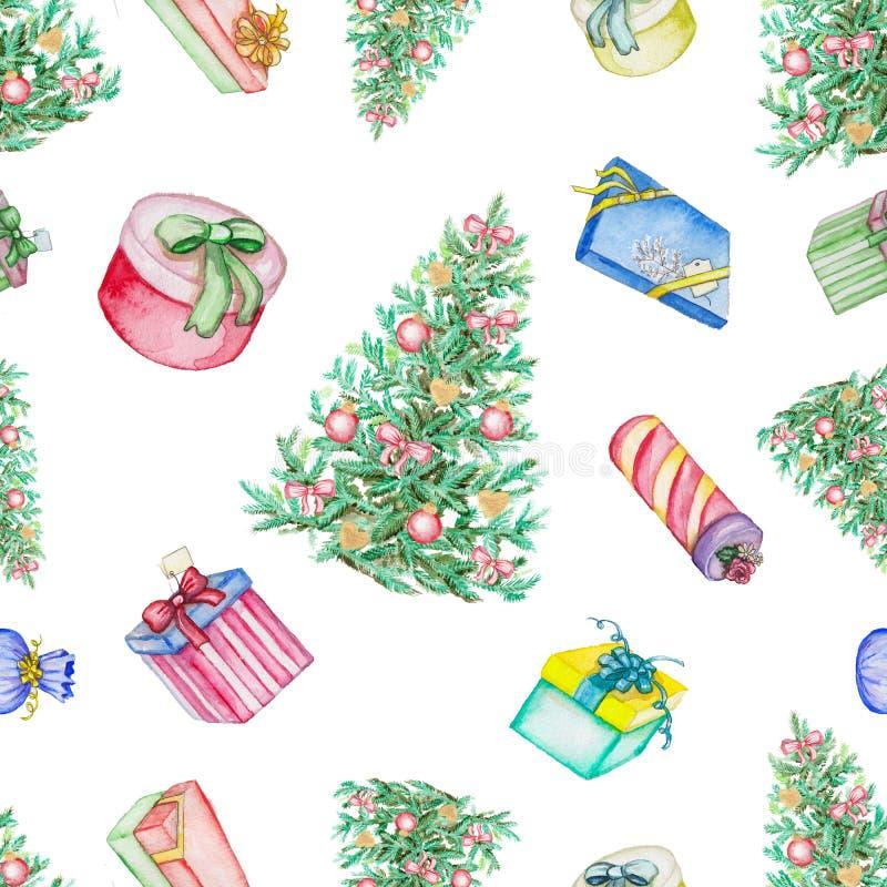 Modèle sans couture d'aquarelle avec l'arbre et les présents de Noël illustration stock