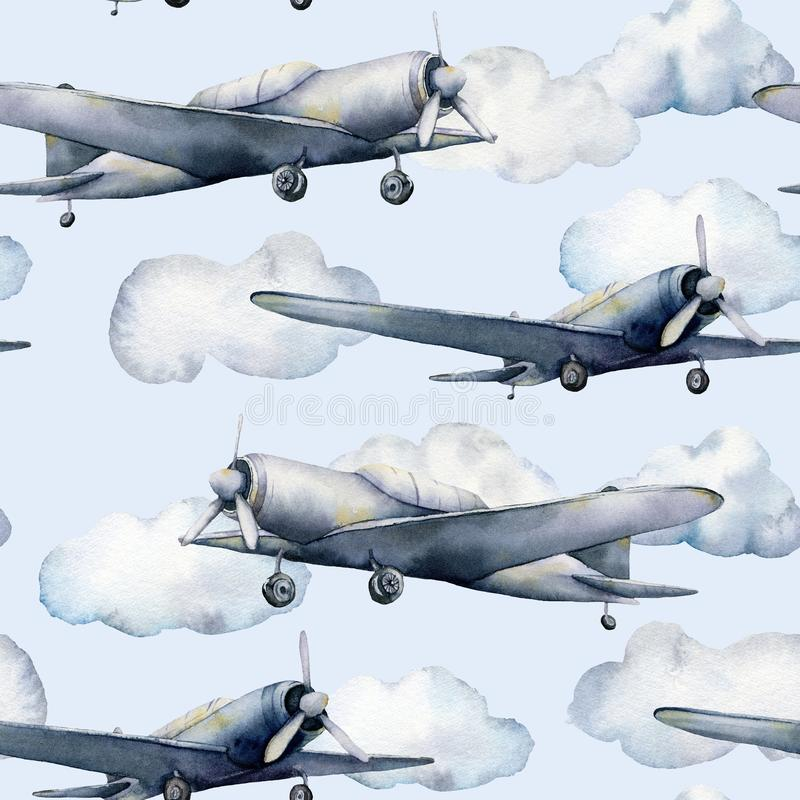 Modèle sans couture d'aquarelle avec l'avion et les nuages Illustration peinte à la main de ciel avec l'avion de propulseur d'iso illustration stock
