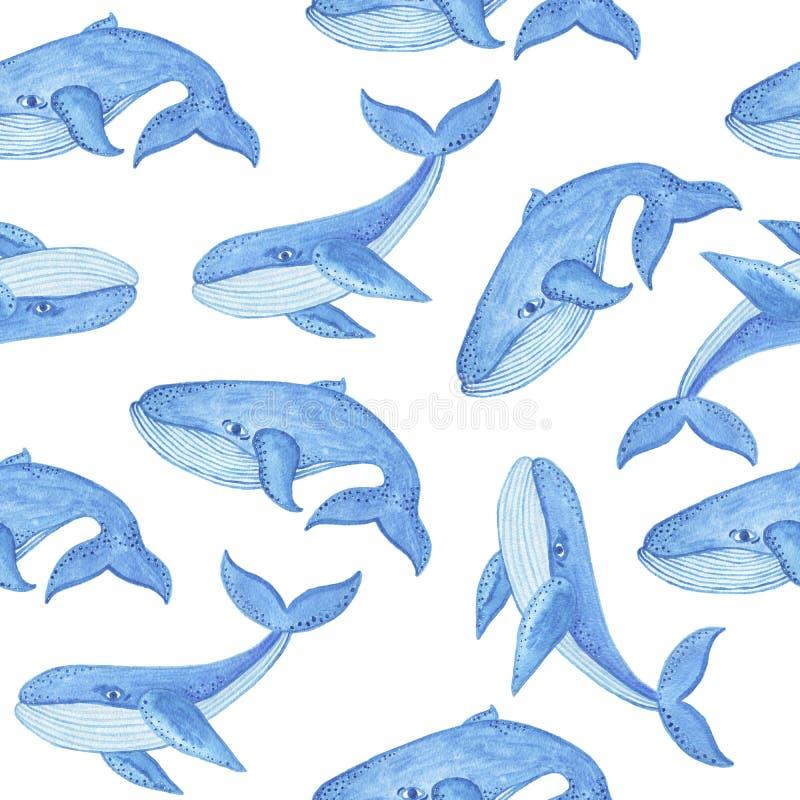Modèle sans couture d'aquarelle avec la baleine bleue, style de bande dessinée illustration de vecteur