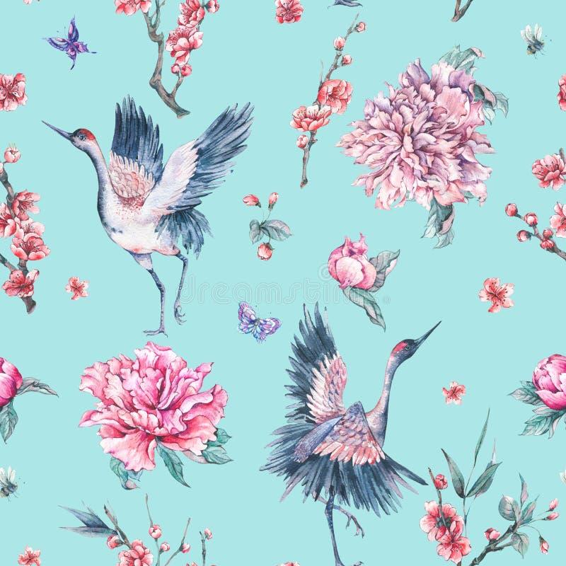 Modèle sans couture d'aquarelle avec la grue, branches de floraison, peoni illustration de vecteur