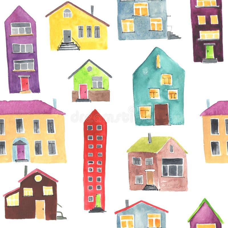 Modèle sans couture d'aquarelle avec la maison illustration de vecteur