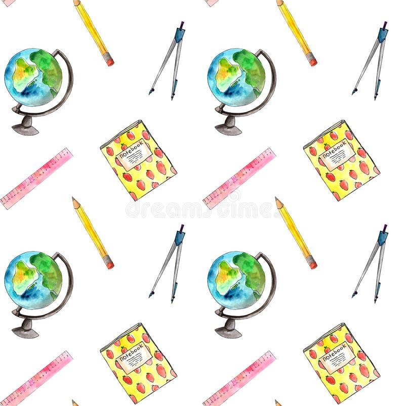 Modèle sans couture d'aquarelle avec la papeterie d'école, calibre de dessin avec des approvisionnements d'art, illustration tiré illustration libre de droits