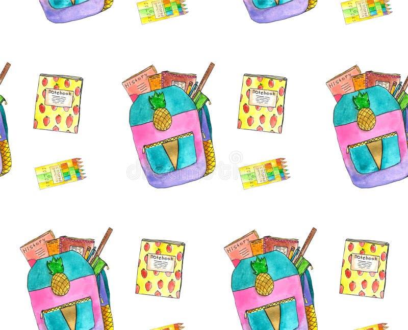 Modèle sans couture d'aquarelle avec la papeterie d'école, calibre de dessin avec des approvisionnements d'art, illustration tiré illustration stock