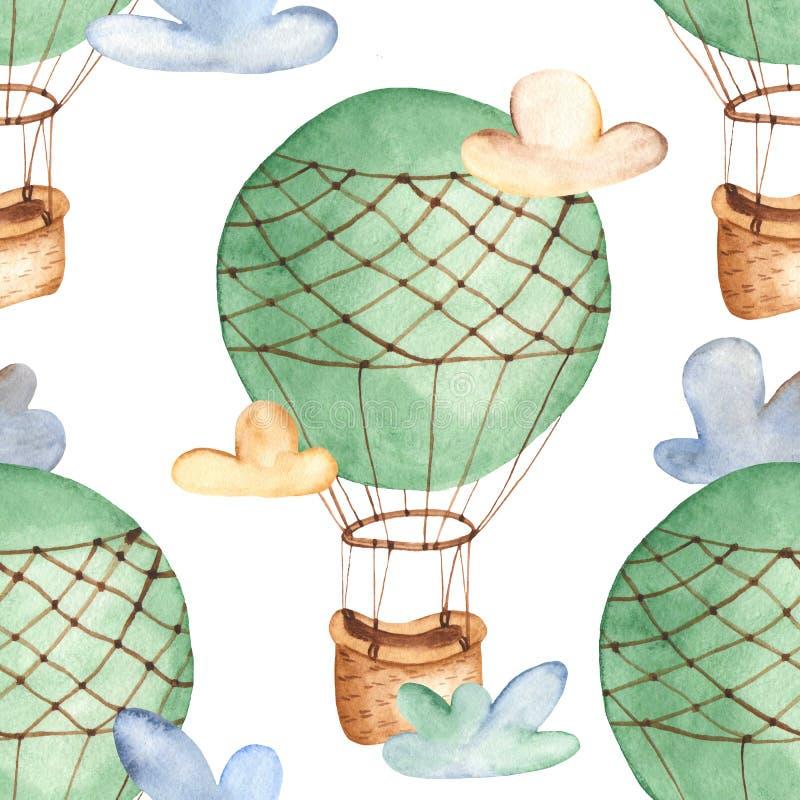 Modèle sans couture d'aquarelle avec le ballon à air chaud illustration stock