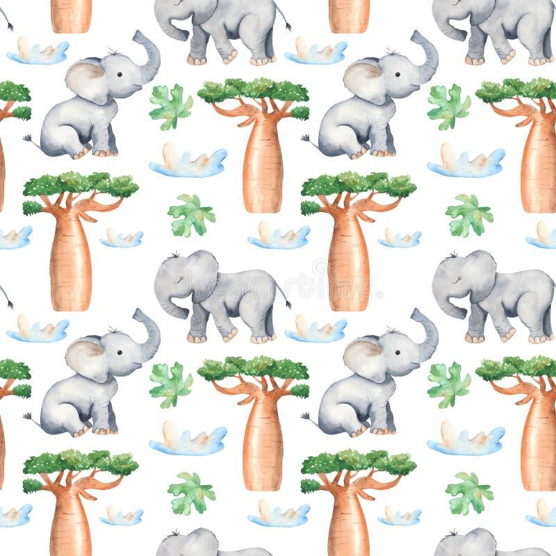 Modèle sans couture d'aquarelle avec les arbres et les animaux africains illustration libre de droits