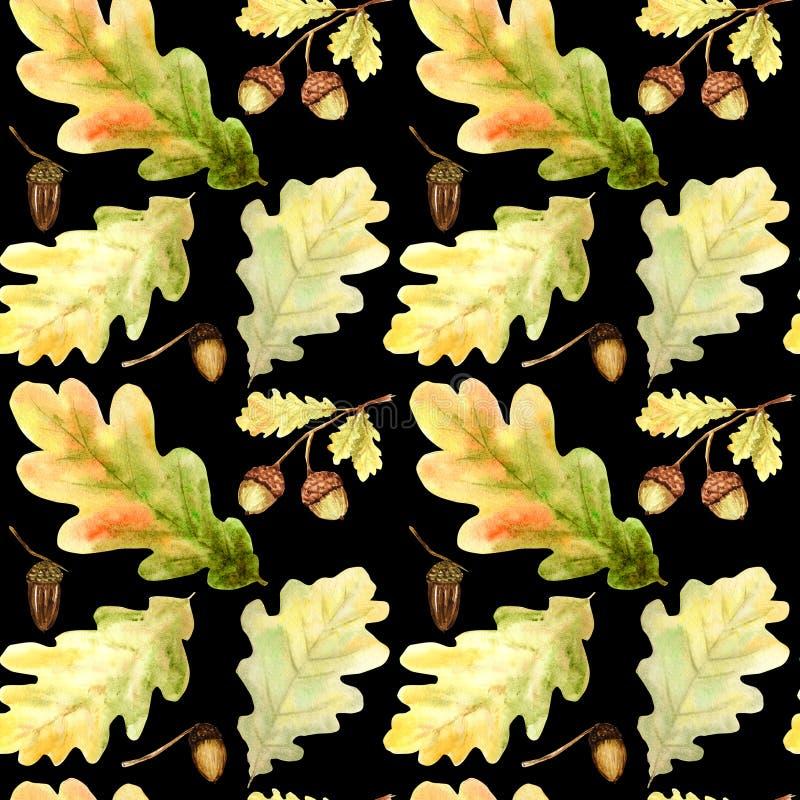 Modèle sans couture d'aquarelle avec les feuilles et les branches lumineuses de chêne de forêt de couleurs Beau fond d'automne da illustration libre de droits