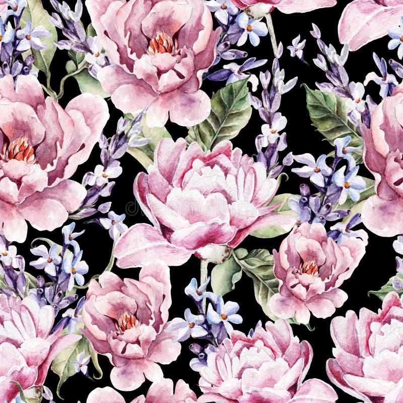 Modèle sans couture d'aquarelle avec les fleurs et la lavande de pivoine illustration de vecteur