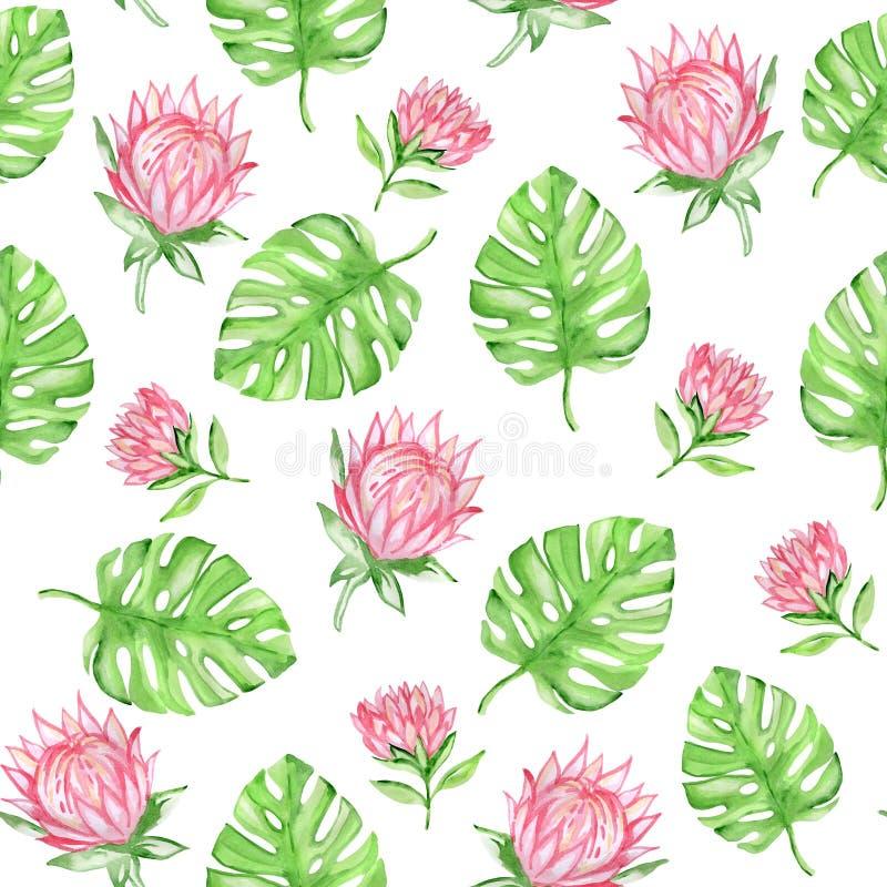 Modèle sans couture d'aquarelle avec les fleurs tropicales rouges illustration libre de droits