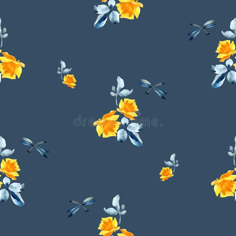 Modèle sans couture d'aquarelle avec les roses jaunes, les feuilles de bleu et la libellule sur le fond bleu illustration stock