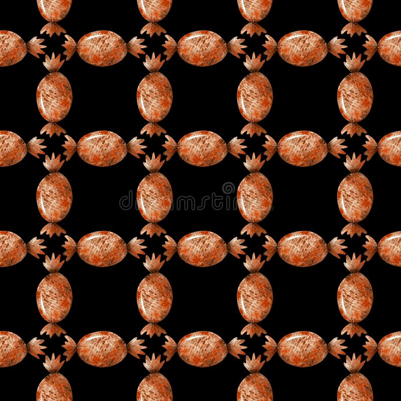Modèle sans couture d'aquarelle avec les sucreries oranges de Halloween sur un fond noir illustration stock
