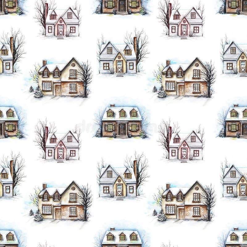 Modèle sans couture d'aquarelle avec trois maisons d'hiver illustration libre de droits