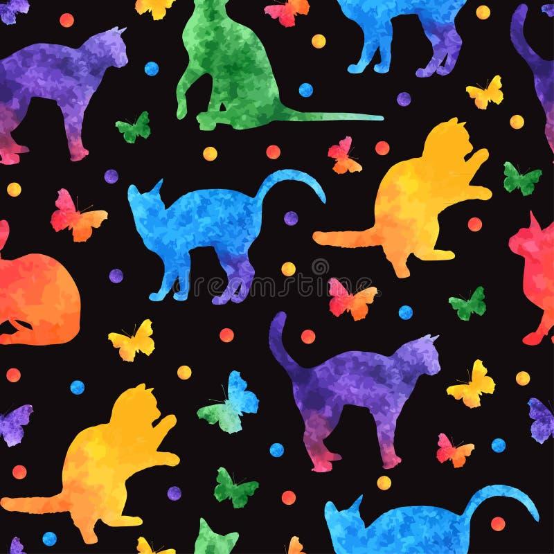 Modèle sans couture d'aquarelle colorée avec les chats mignons et les papillons d'isolement sur le fond noir Vecteur eps10 illustration stock