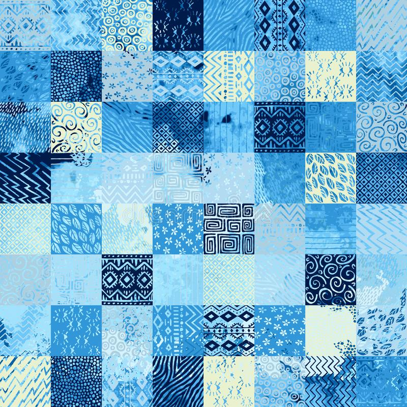Modèle sans couture d'aquarelle dans le style de patchwork Motifs ethniques et tribals Placez des éléments carrés tiré par la mai illustration stock