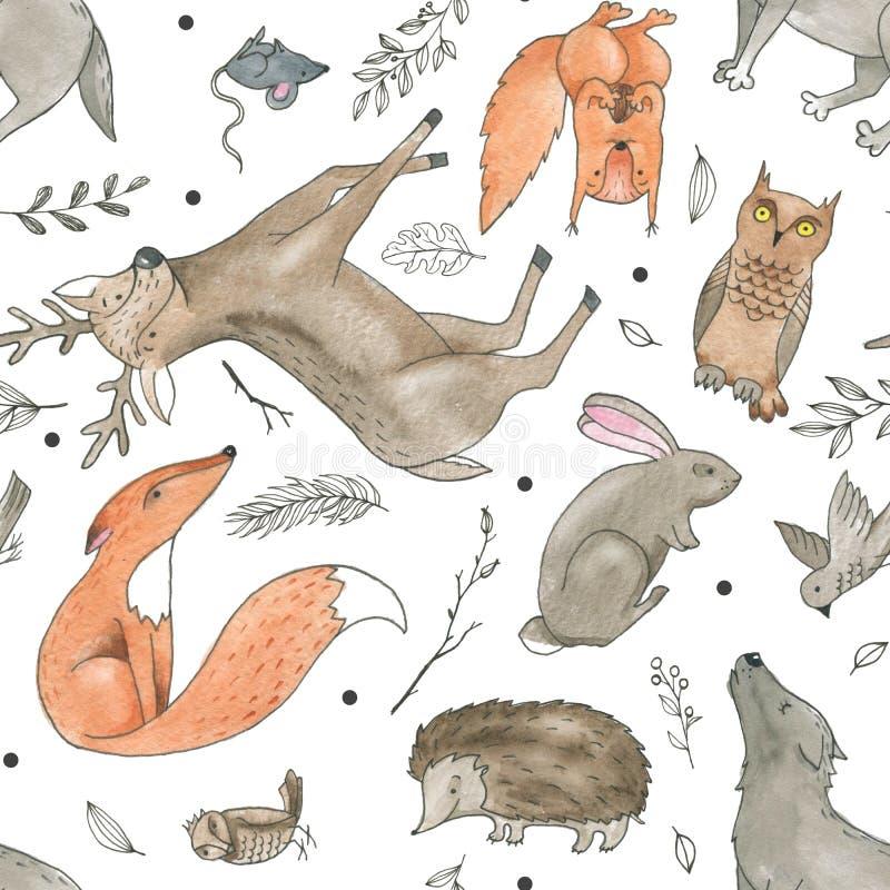 Modèle sans couture d'aquarelle de bande dessinée de griffonnage d'animaux tirés par la main de forêt illustration libre de droits