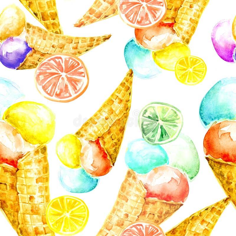 Modèle sans couture d'aquarelle de cru - crème glacée de cône de gaufrette avec des baies illustration de vecteur
