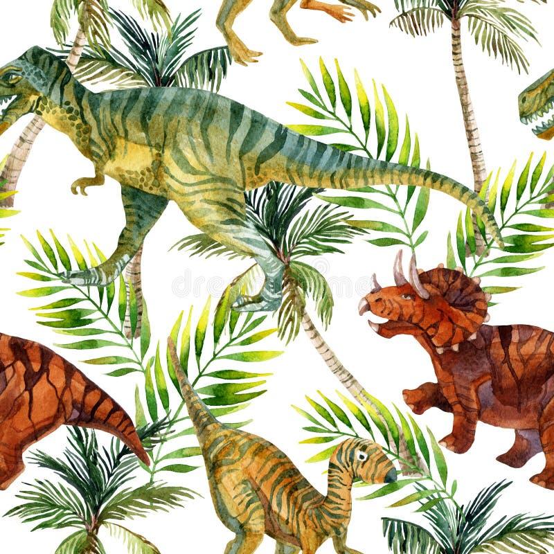 Modèle sans couture d'aquarelle de dinosaure illustration stock