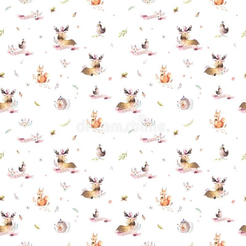 Modèle sans couture d'aquarelle de hérisson de bande dessinée de bébé, d'écureuil et d'animal mignons d'orignaux pour nursary, fo images libres de droits