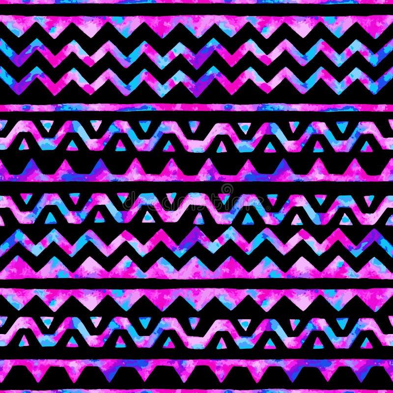 Modèle sans couture d'aquarelle de l'espace Fond rayé lumineux Ha illustration de vecteur
