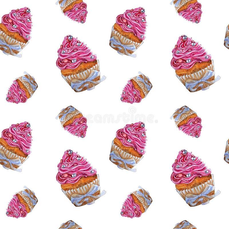 Modèle sans couture d'aquarelle de petit gâteau peint à la main de rose illustration libre de droits