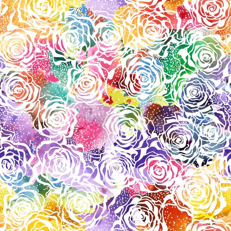 Modèle sans couture d'aquarelle de Rose. Vecteur, ENV 10 illustration libre de droits