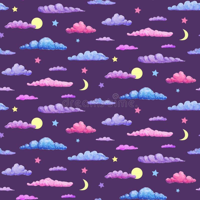 Modèle sans couture d'aquarelle des nuages pourpres et bleus roses sur le fond de ciel nocturne nuages en pastel avec des étoiles images libres de droits