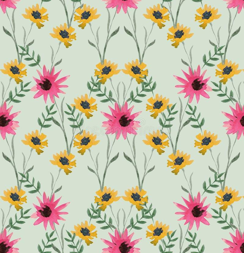 Modèle sans couture d'aquarelle douce des fleurs de rose, jaunes et vertes sur un fond vert clair illustration de vecteur