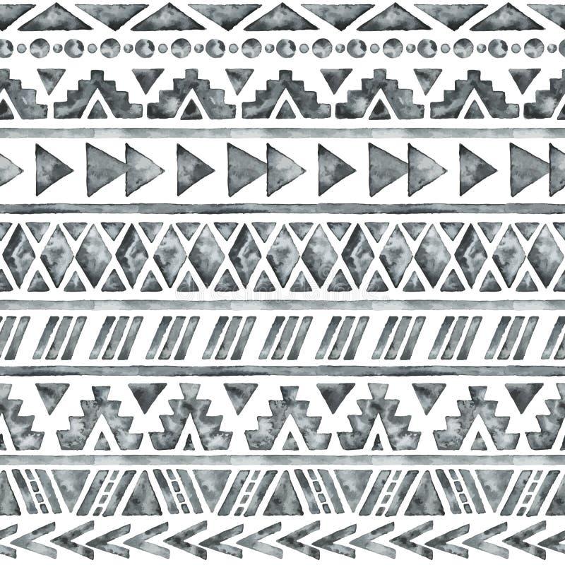 Modèle sans couture d'aquarelle ethnique illustration stock