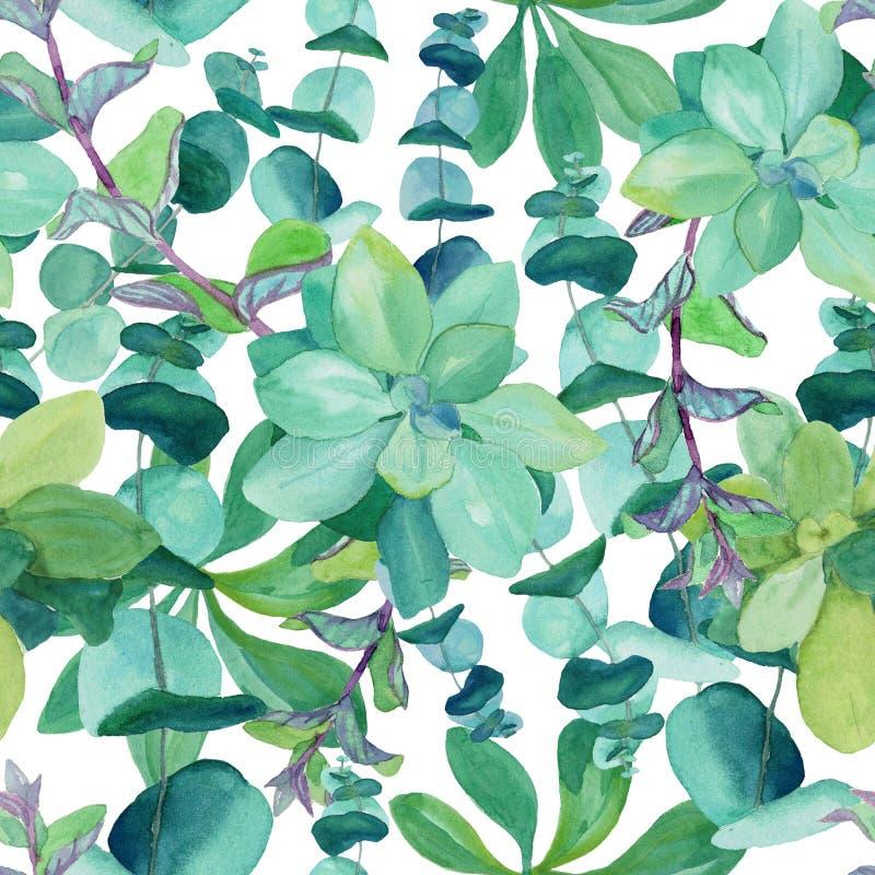 Modèle sans couture d'aquarelle d'eucalyptus de bleus layette illustration stock
