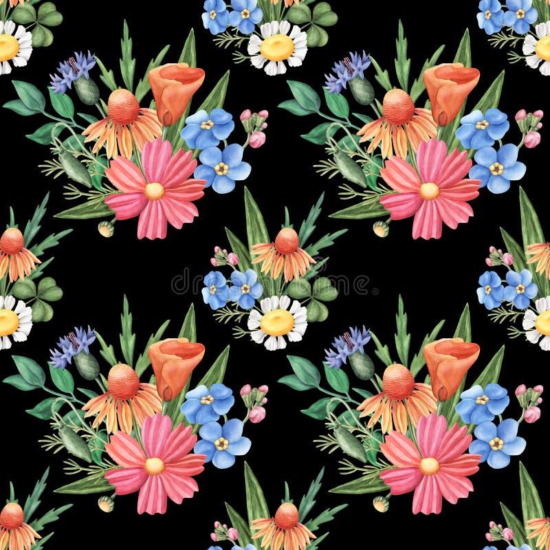 Modèle sans couture d'aquarelle, fleurs sauvages sur le noir images stock