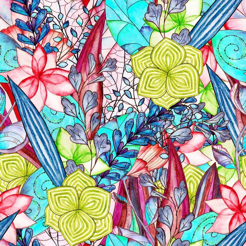 Modèle sans couture d'aquarelle florale illustration stock