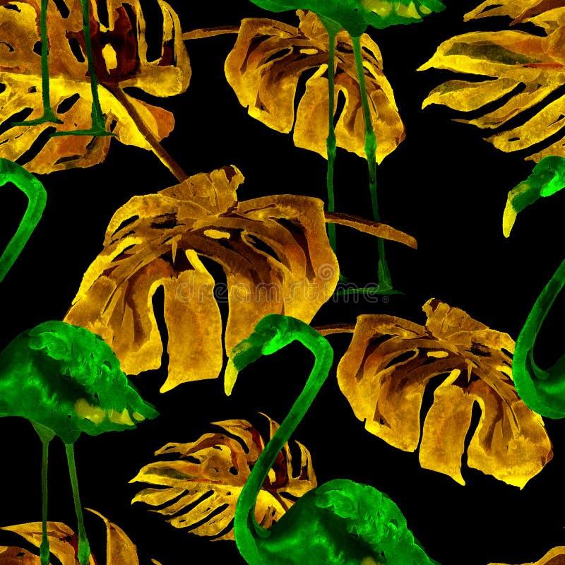 Modèle sans couture d'aquarelle Illustration peinte à la main des feuilles et des fleurs tropicales Motif tropical d'été avec le  photographie stock