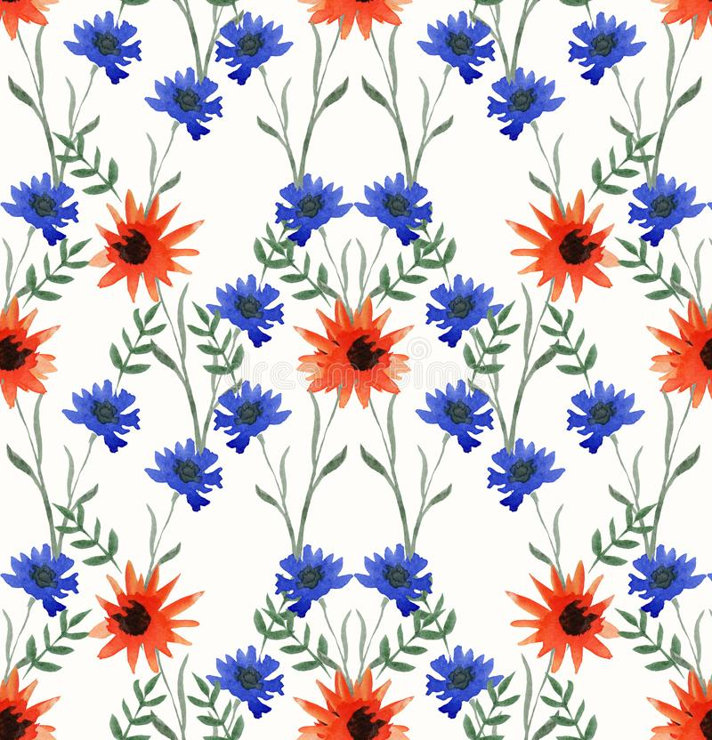 Modèle sans couture d'aquarelle lumineuse des fleurs bleues, oranges, rouges et vertes sur un fond blanc illustration stock