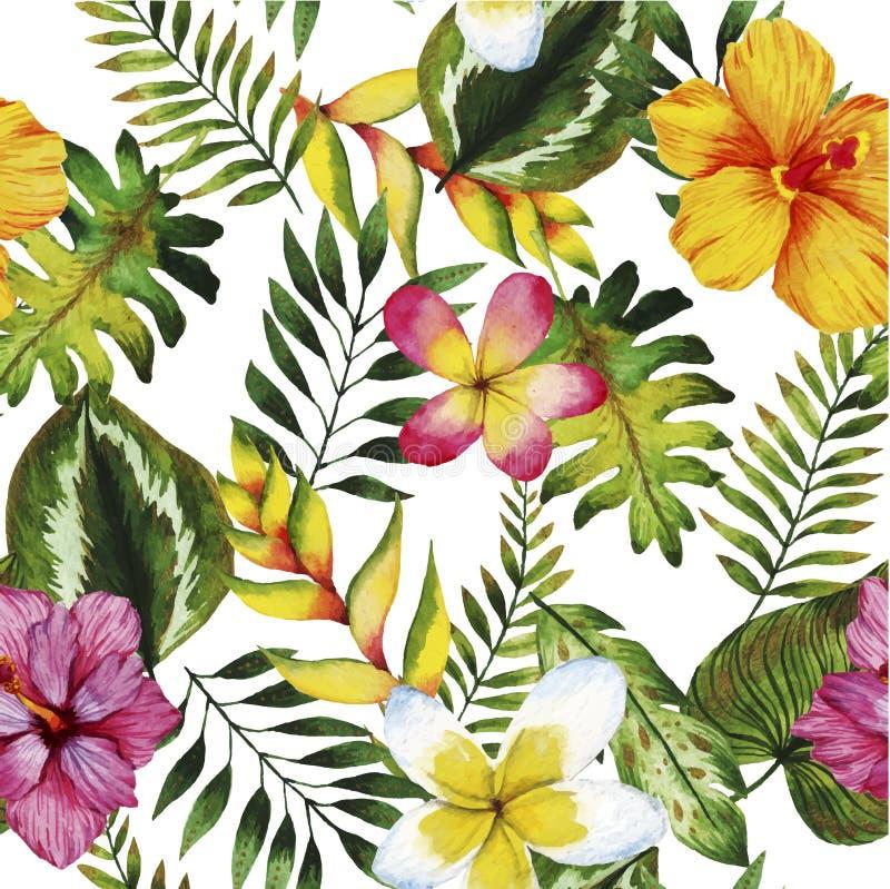Modèle sans couture d'aquarelle Plantes tropicales et fleurs d'été illustration libre de droits