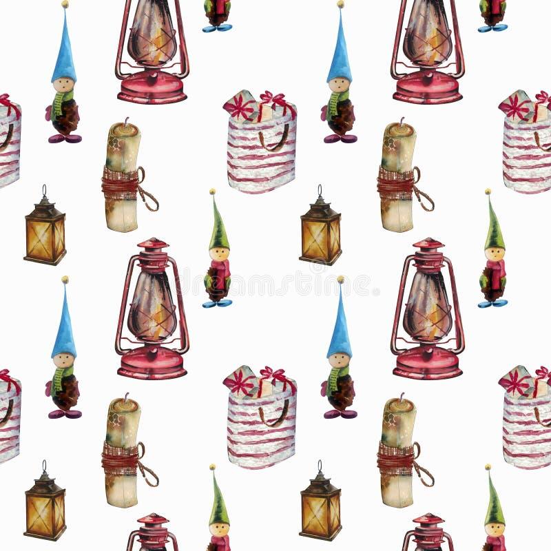 Modèle sans couture d'aquarelle tirée par la main Décorations de Noël, lanternes, cadeaux, gnomes Approprié à l'impression sur de illustration stock